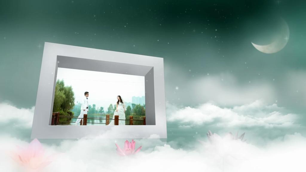 婚礼婚庆电子相册月亮云朵模板下载(图片编号:)_其他图片