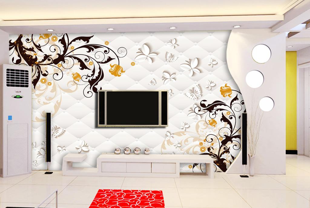 客厅3d软包电视背景墙