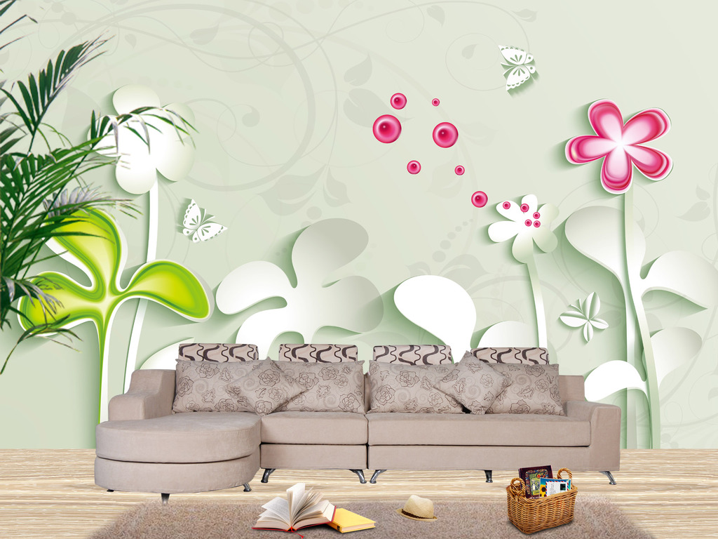 手绘立体花卉蝴蝶电视背景墙