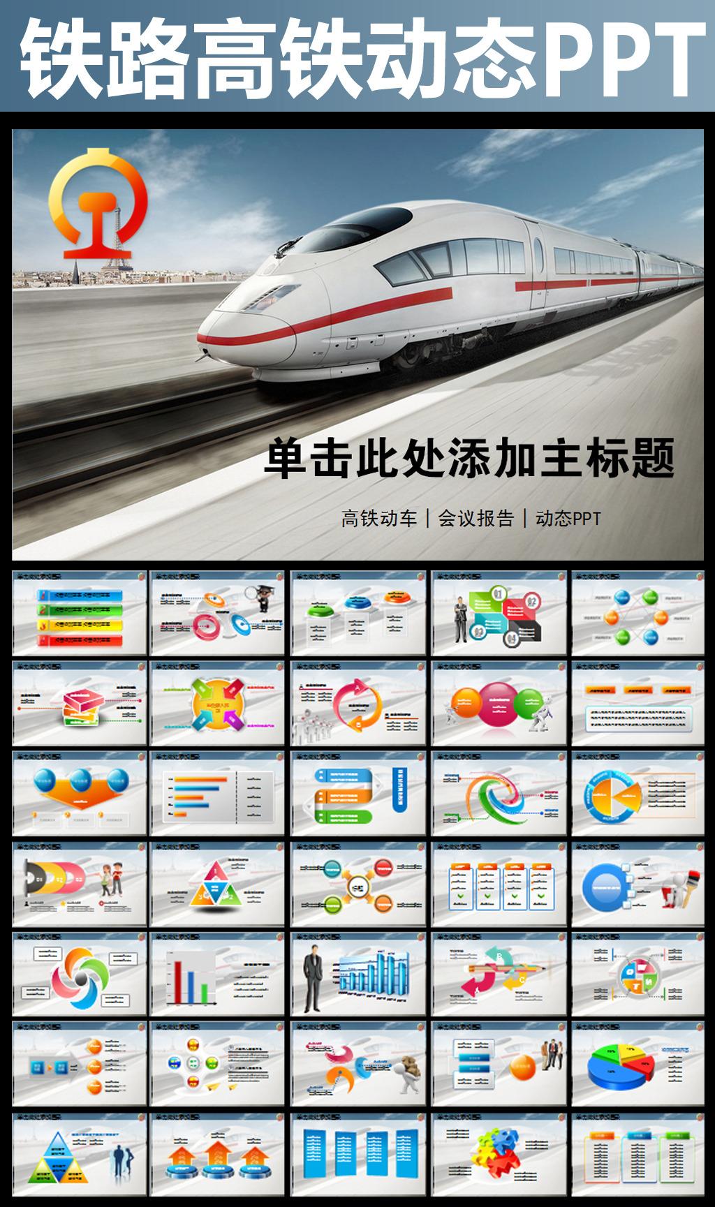 动车高铁火车铁路发展动态幻灯片PPT图表模板下载 11796201 综合