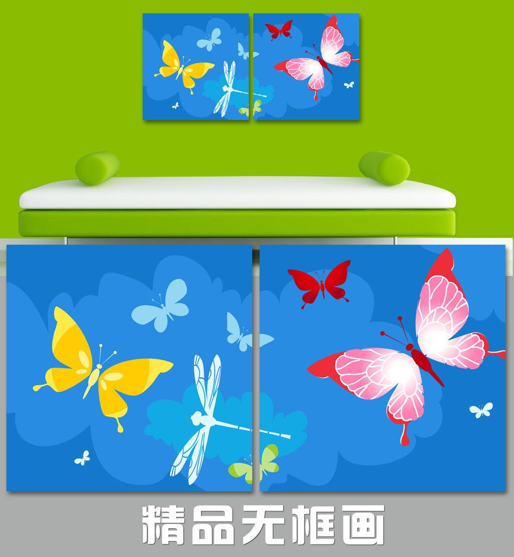 家居无框画 现代装饰 风筝 春天 春景 春风 蜻蜓 蝴蝶 蓝色 放风筝 五彩图片