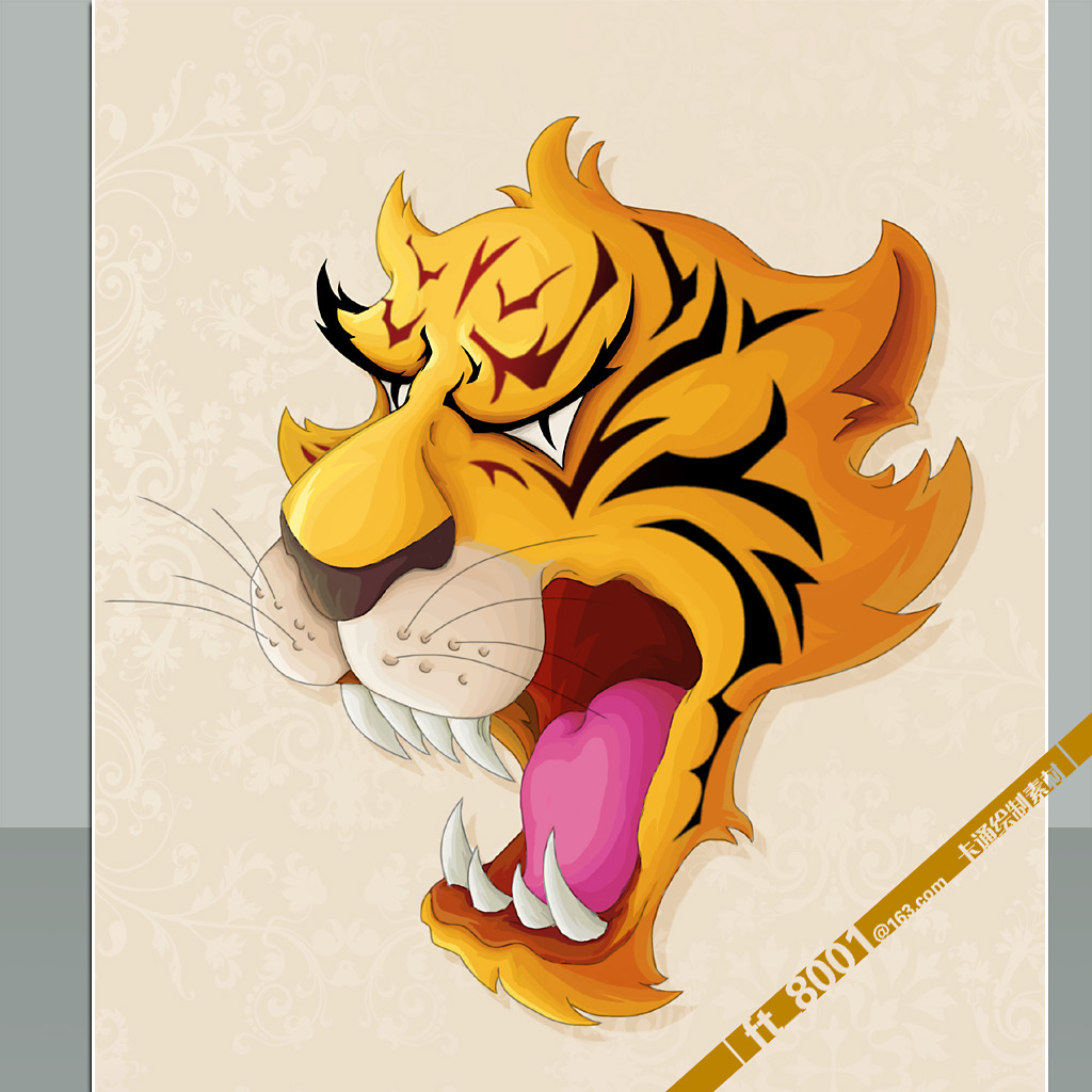 怒吼老虎头像卡通形象素材