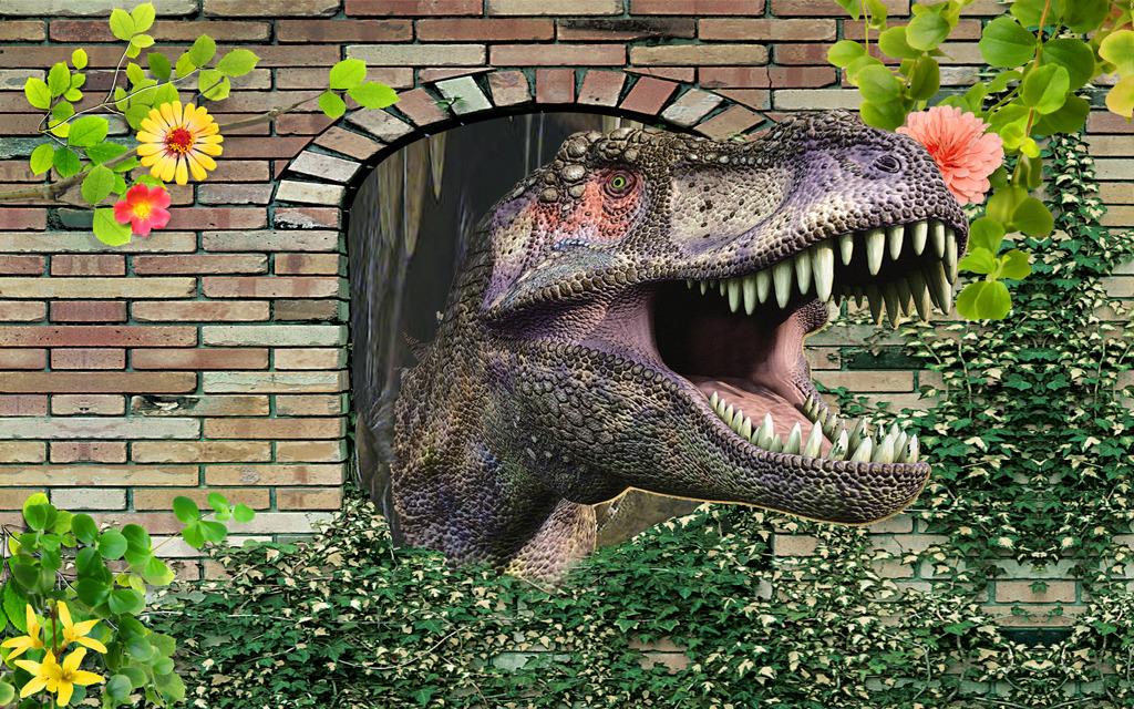3d立体恐龙图客厅背景墙