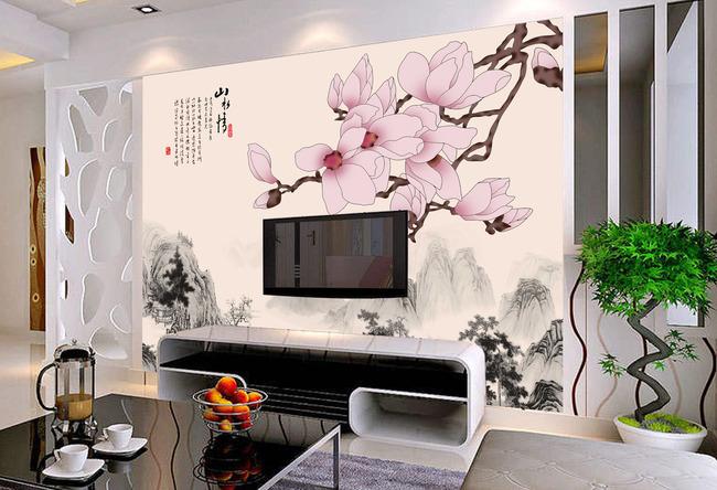 山水情客厅电视背景墙装饰画