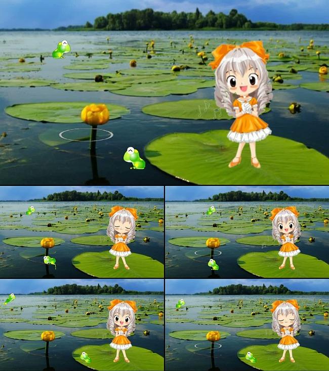 荷塘青蛙与卡通人动态特效视频素材