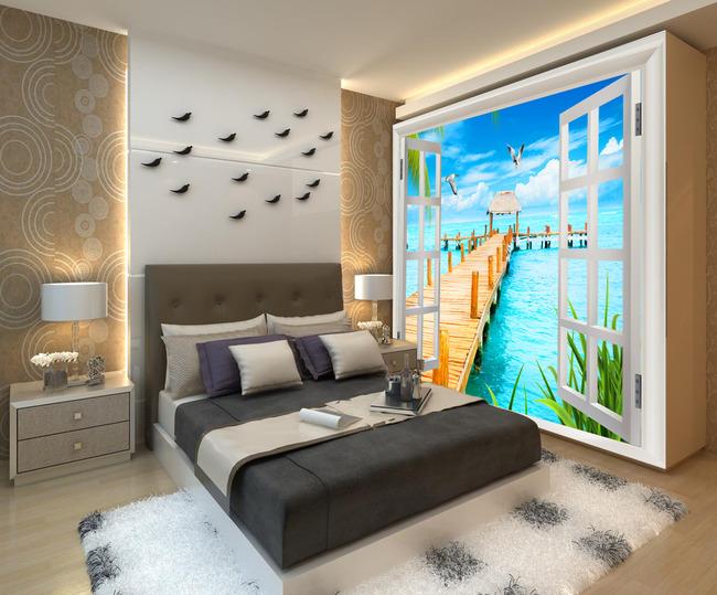 3d窗外海景电视背景墙