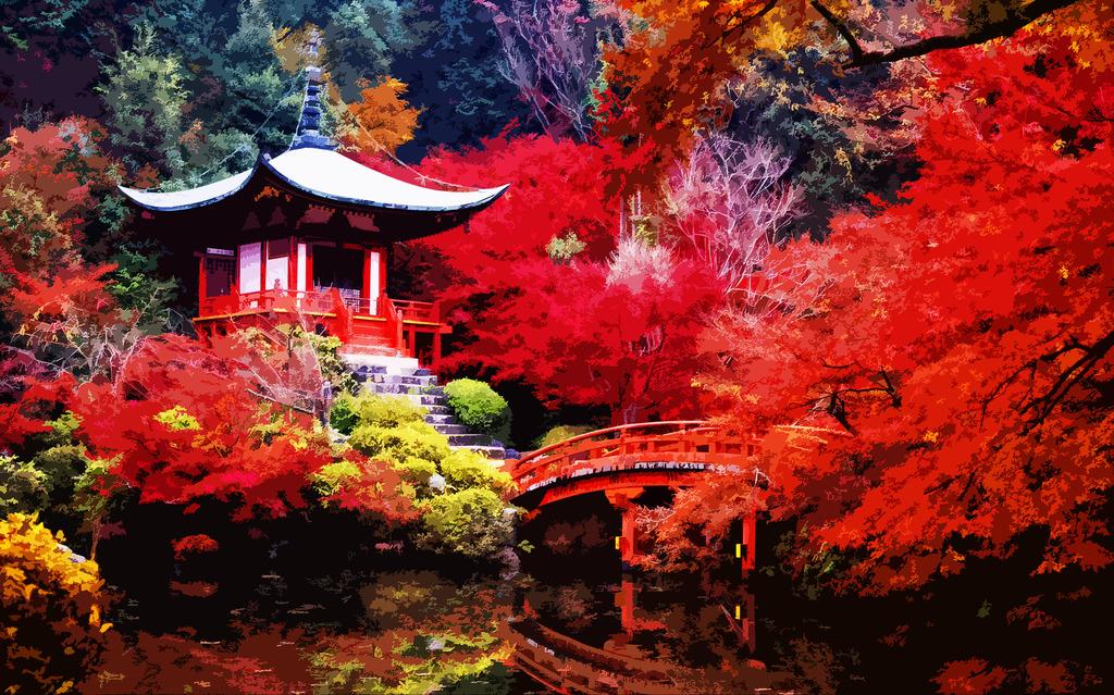 高清木刻效果香山红叶装饰画背景墙