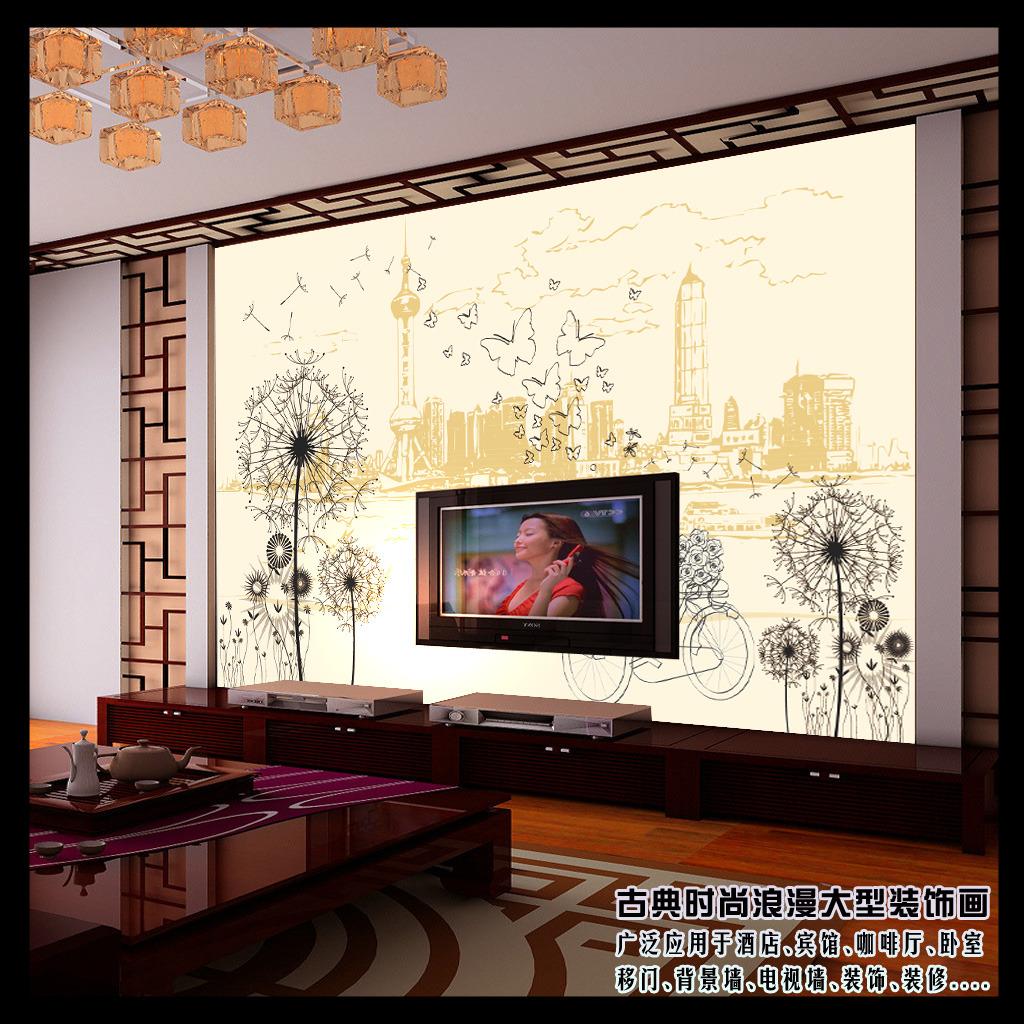 背景墙|装饰画 电视背景墙 手绘电视背景墙 > 欧洲建筑剪影矢量客厅
