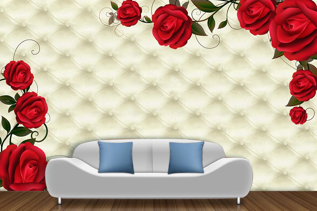 背景墙 电视 软包/[版权图片]复古欧式皮革软包玫瑰高清电视背景墙