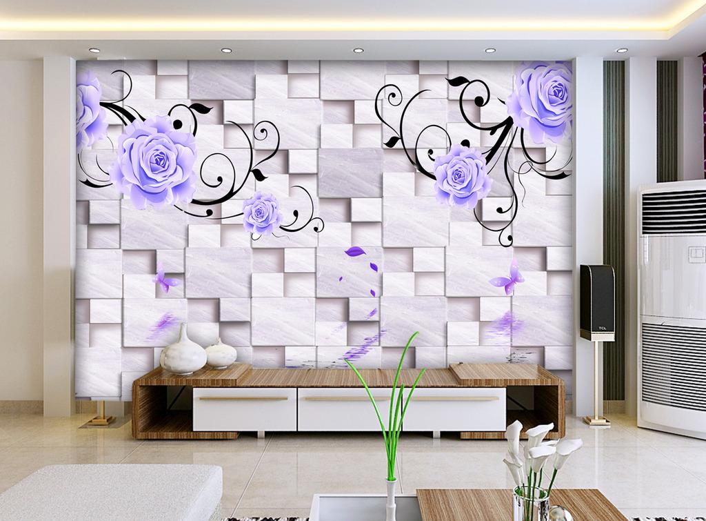 电视背景墙3d壁画花朵