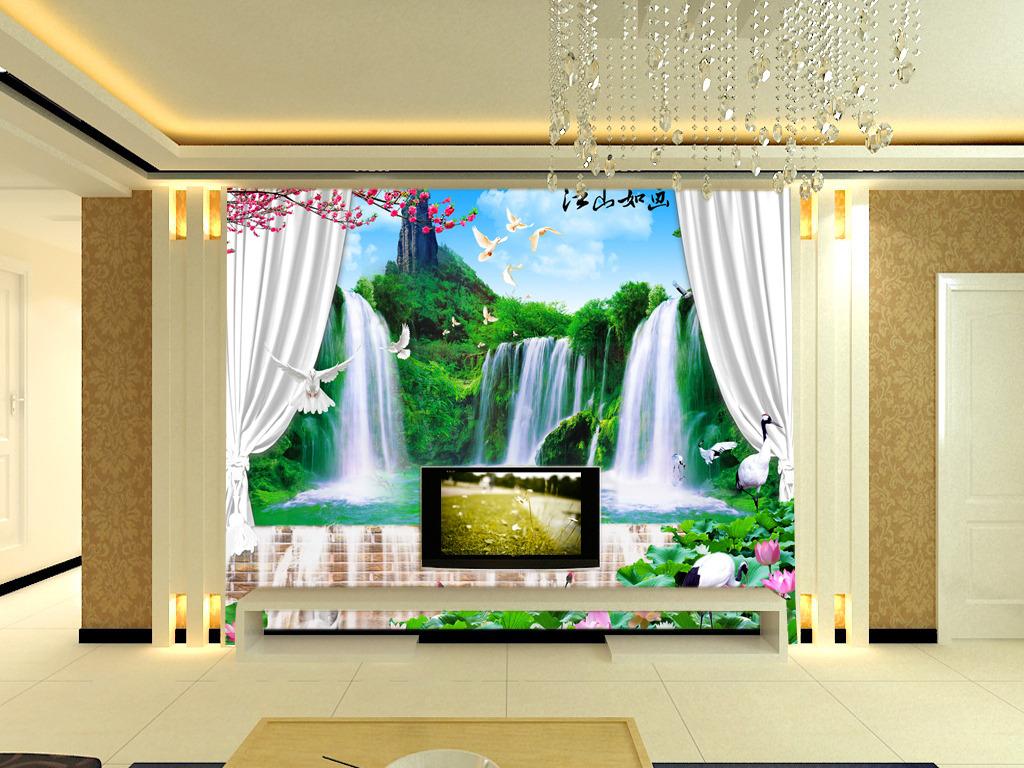 3d立体风景如画瀑布山水电视背景墙壁画