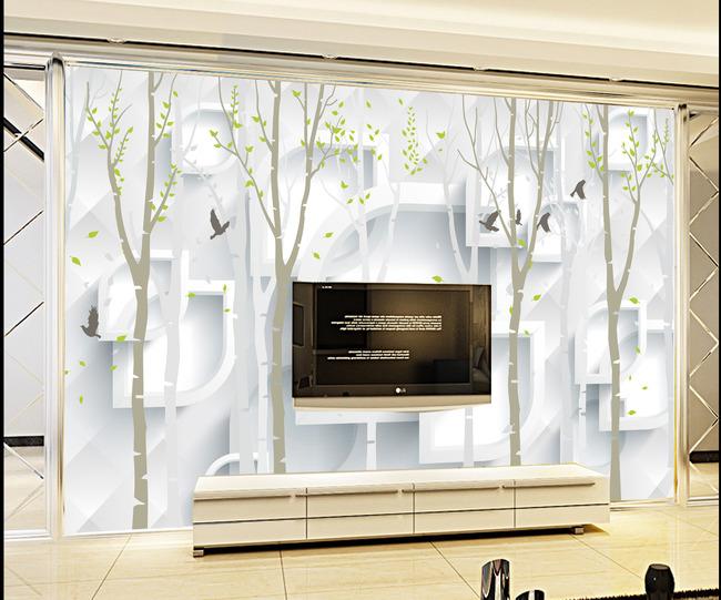 电视背景墙装饰画模板下载图片下载背景墙壁画装饰画唯美梦幻 手绘树