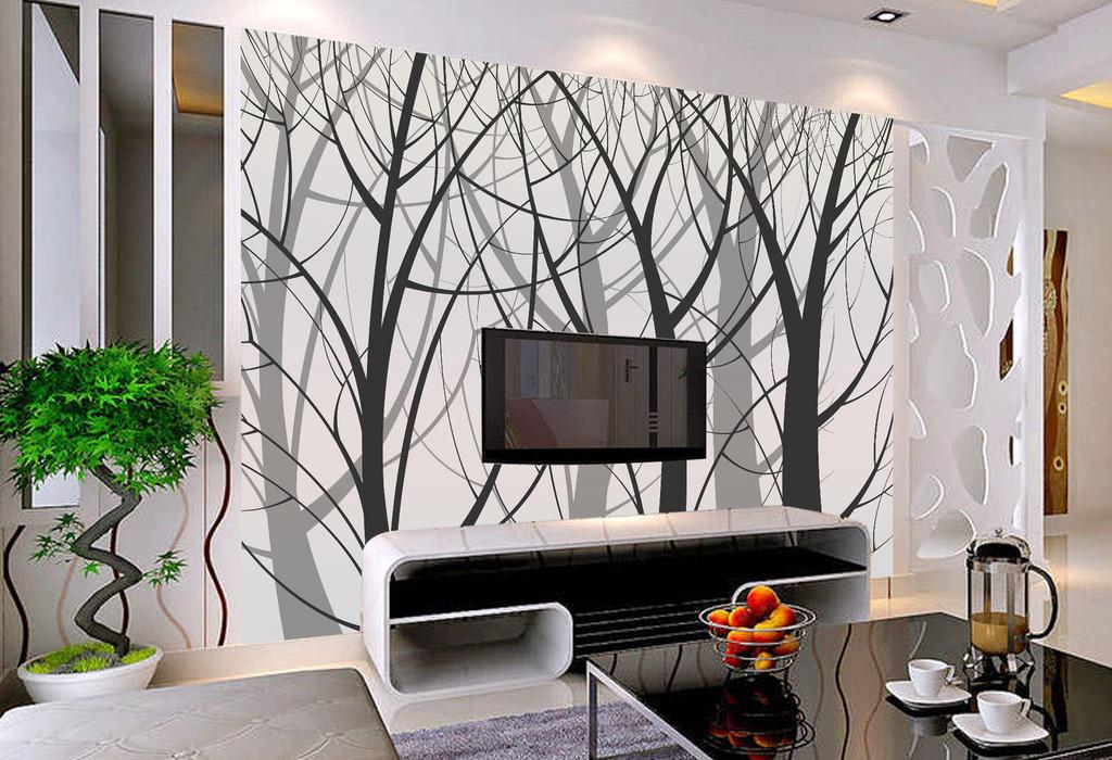 欧式风格大树剪影壁画墙纸客厅电视背景墙
