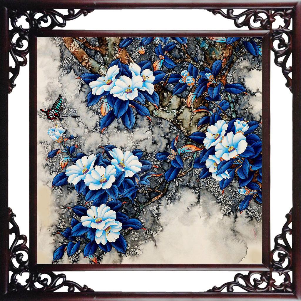 花卉 花朵 茶花 喜鹊 古典中国画 中国元素 中国风 室内装饰素材 工笔图片