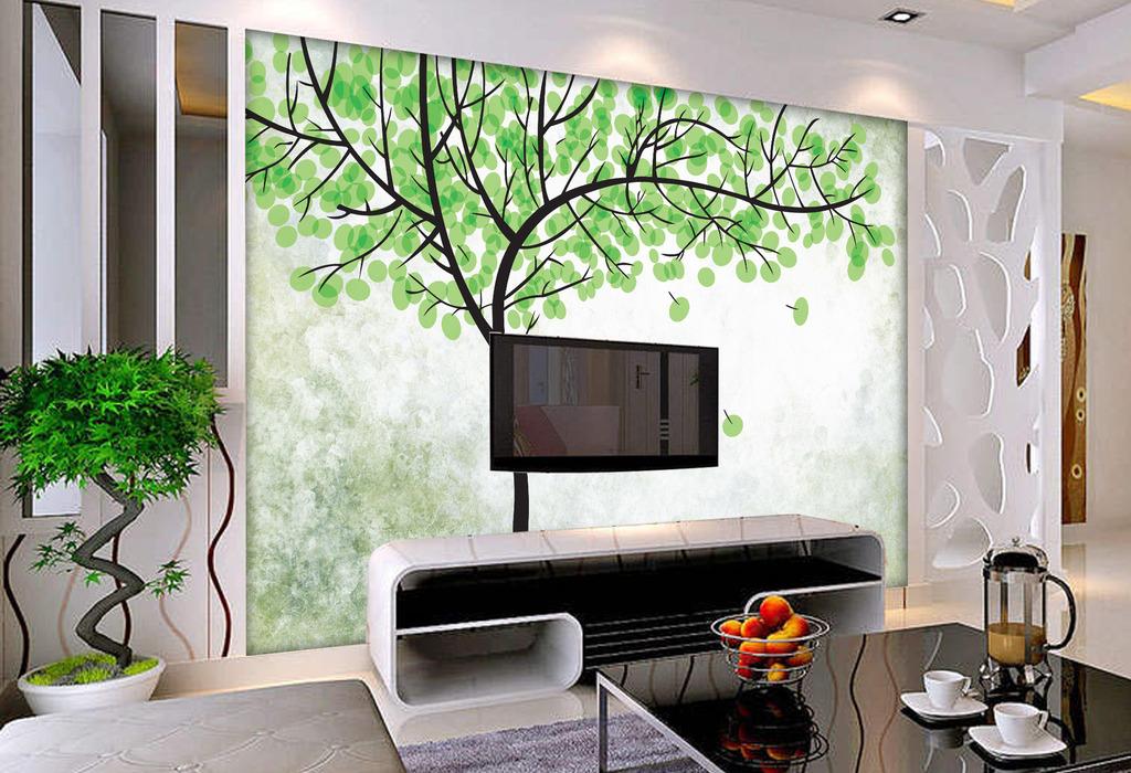 欧式风格手绘大树壁画墙纸背景墙