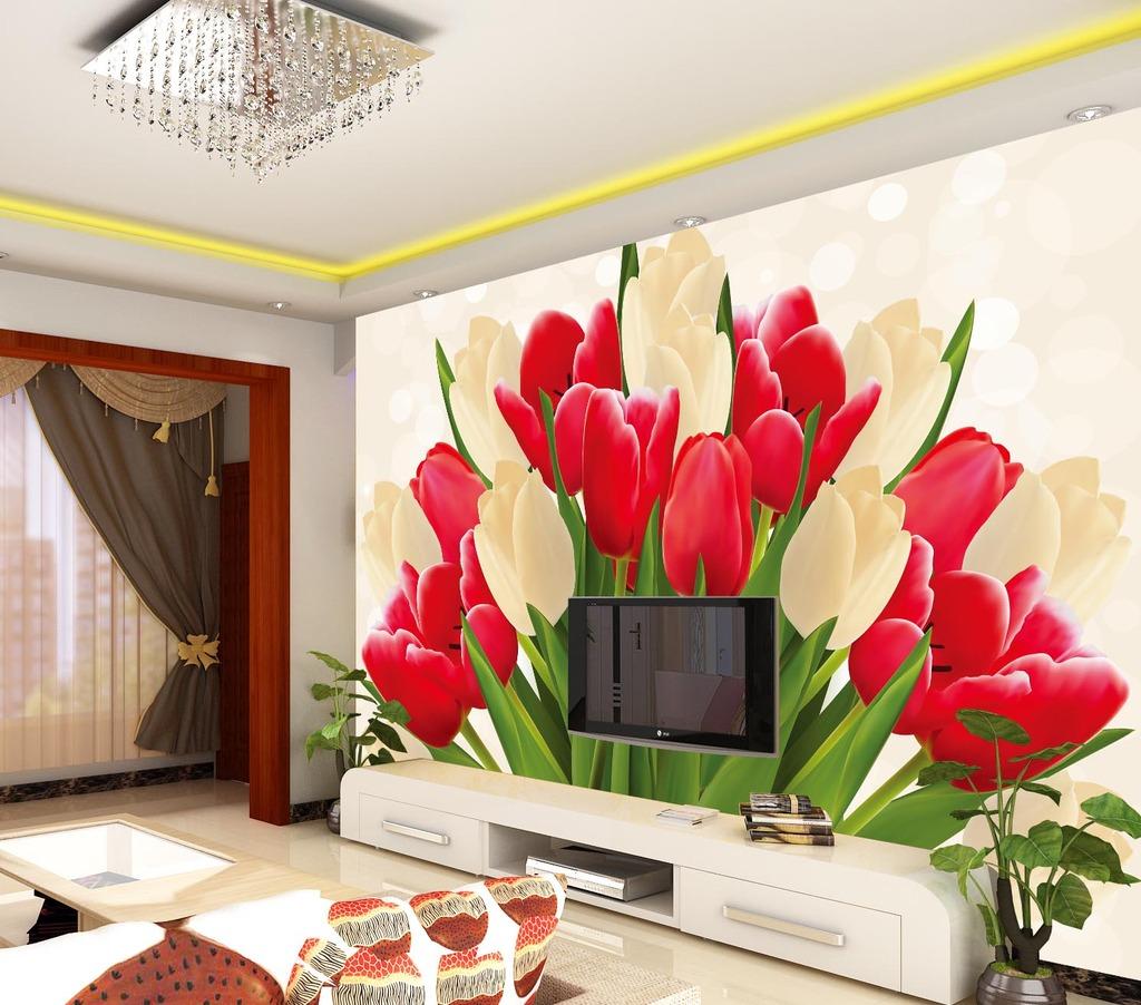 手绘郁金香时尚背景墙