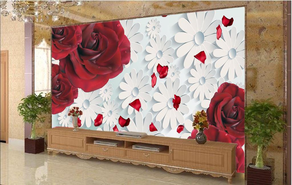 3d立体玫瑰花电视背景墙装饰画