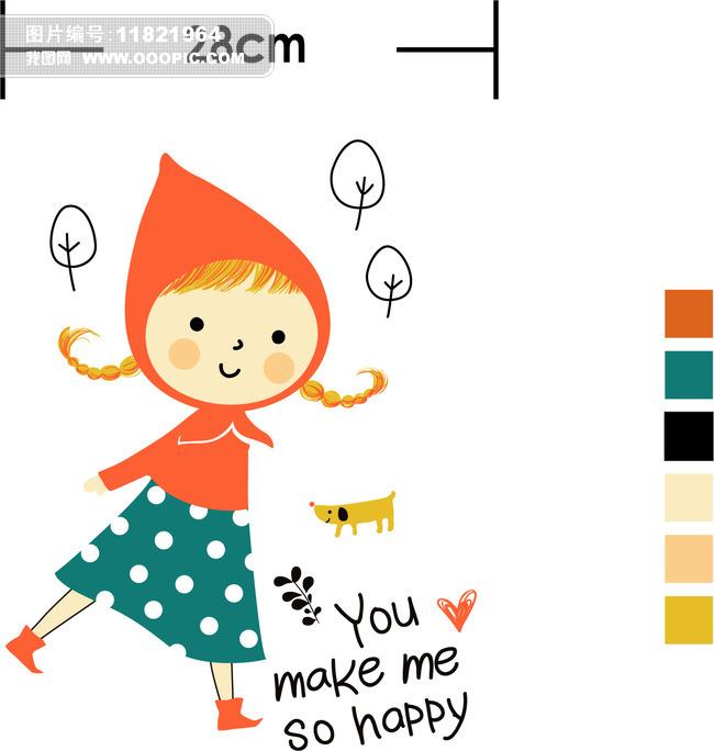 卡通小女孩印花图案高清童装印花矢量图