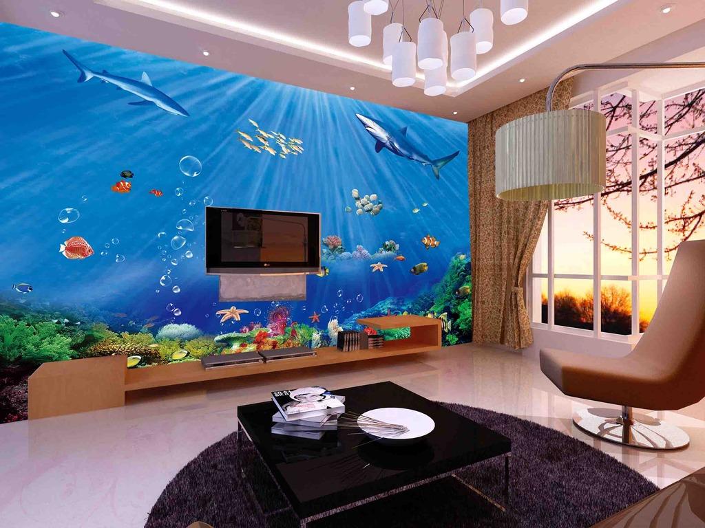手绘客厅电视背景墙设计图展示