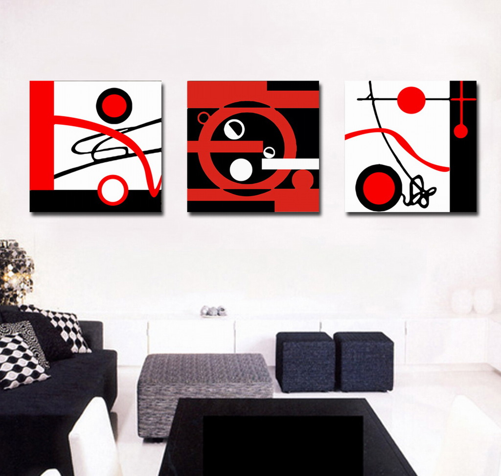 Black White Red Canvas Painting