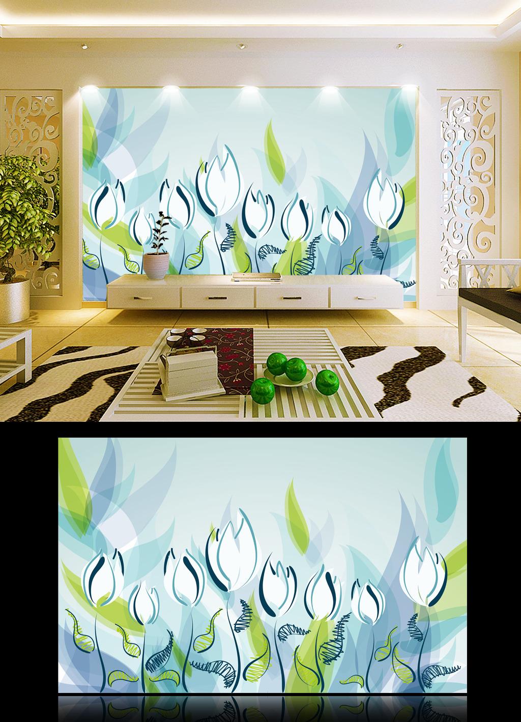 清新/[版权图片]清新简洁客厅背景墙
