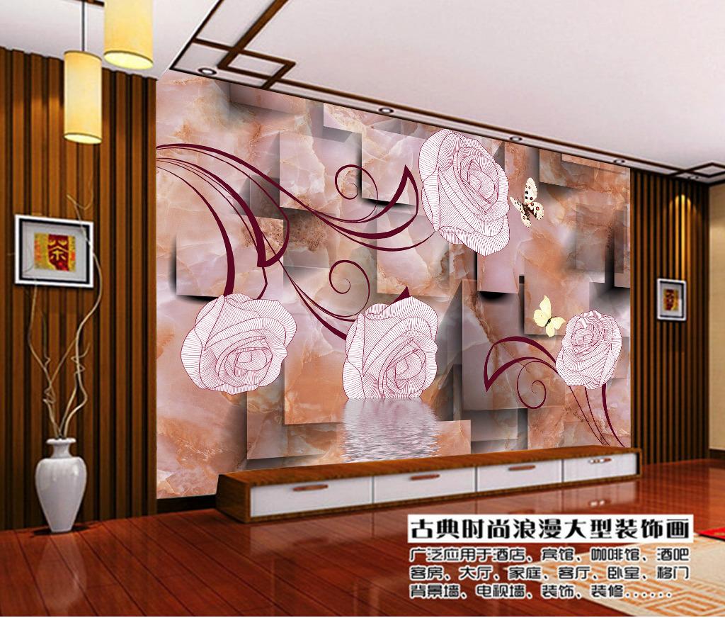 3d立体瓷砖花纹梦幻手绘花朵背景墙装饰画