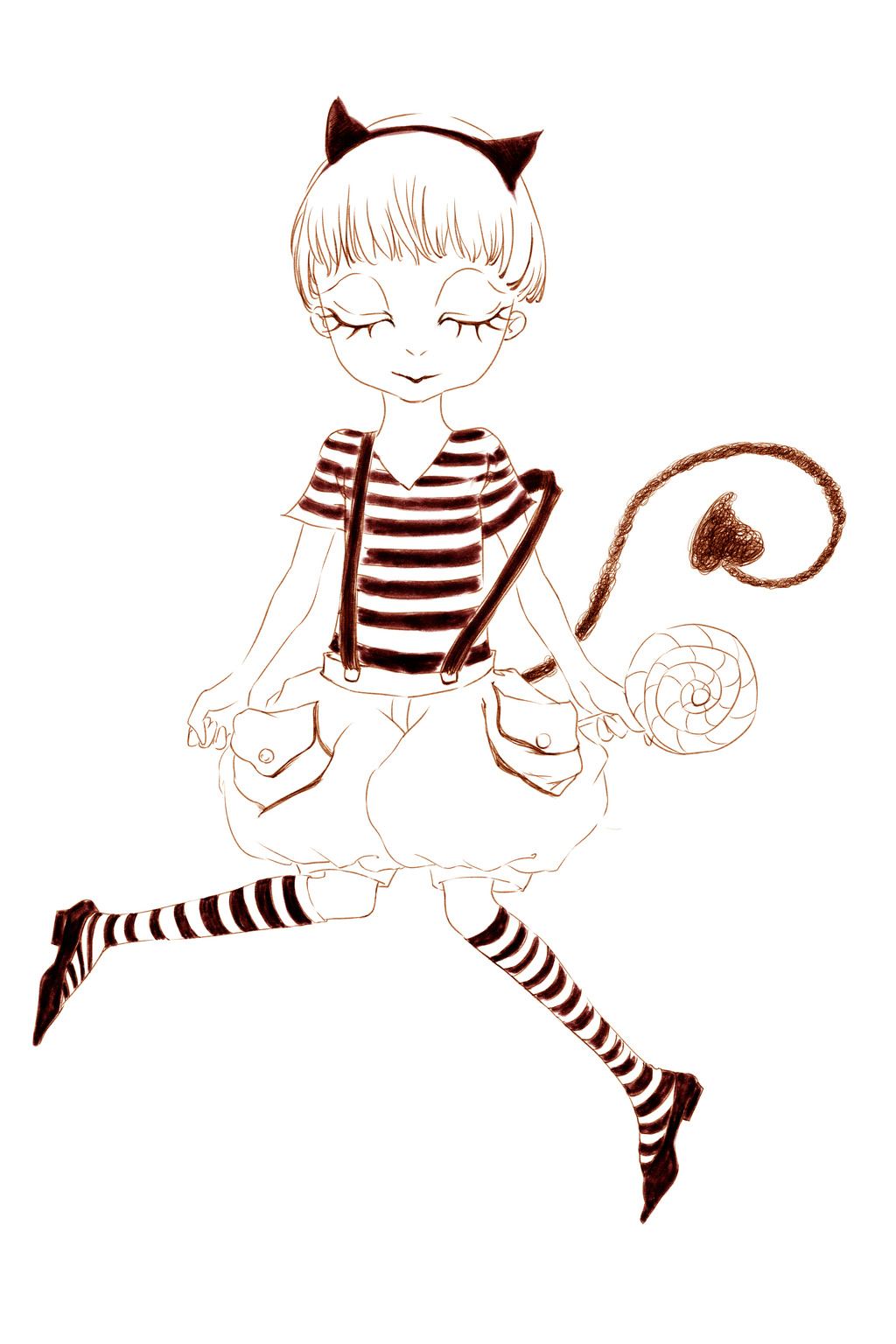 psd多图层万圣节卡通人物形象黑白小恶魔