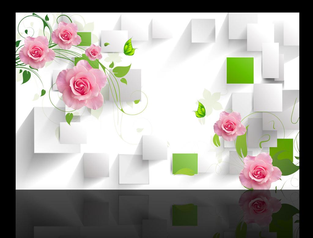 玫瑰花藤3d电视背景墙