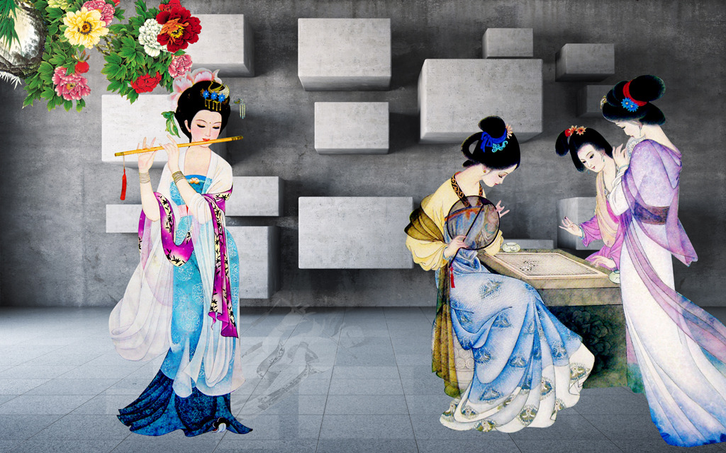 3d立体古代美女客厅电视电视墙装饰画