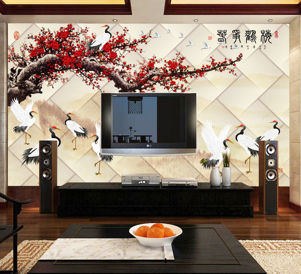 国画梅花3d电视背景墙装饰画