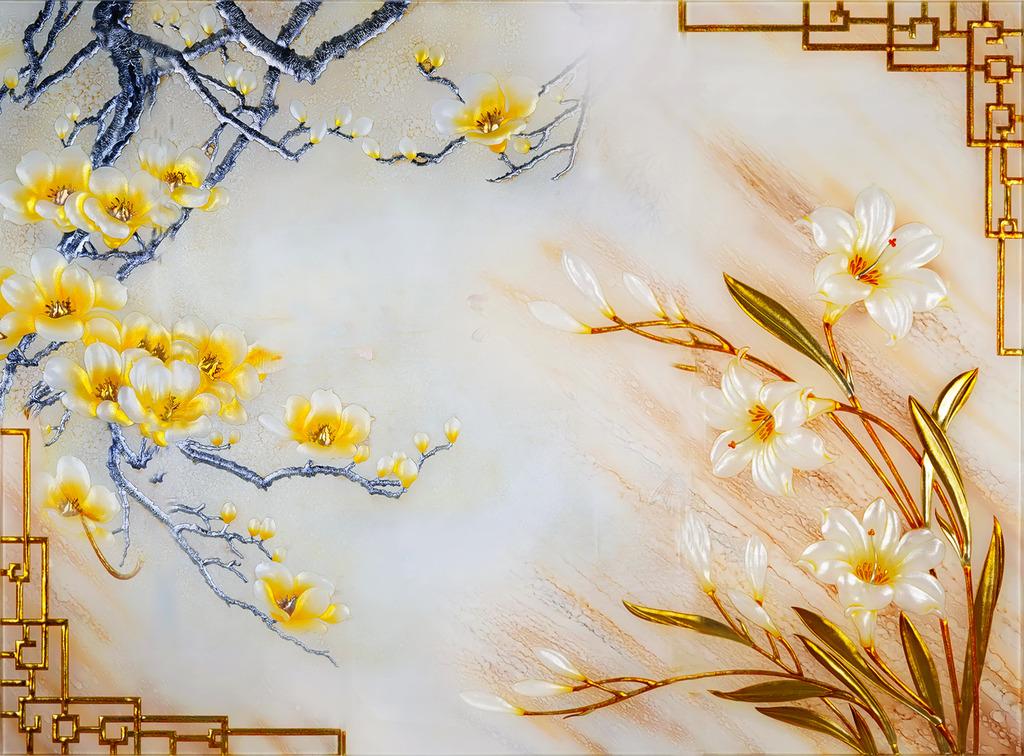 仿彩雕浮雕玉兰花电视背景墙