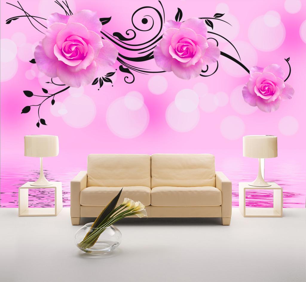粉色的花手绘电视背景图