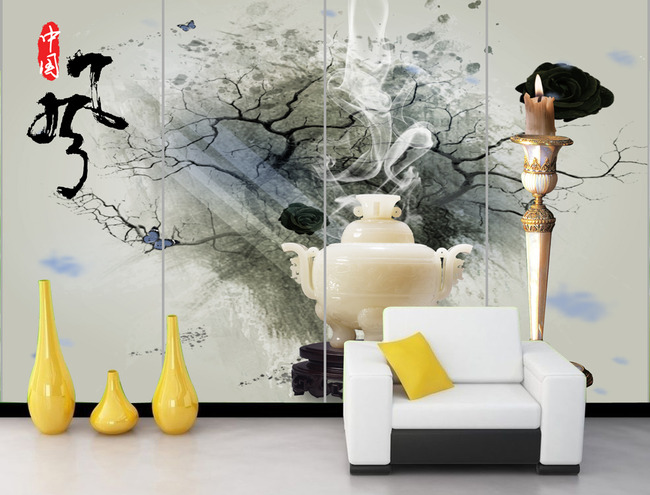 中国风水墨画客厅电视背景墙装饰画