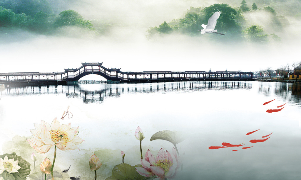 中国风桥手绘