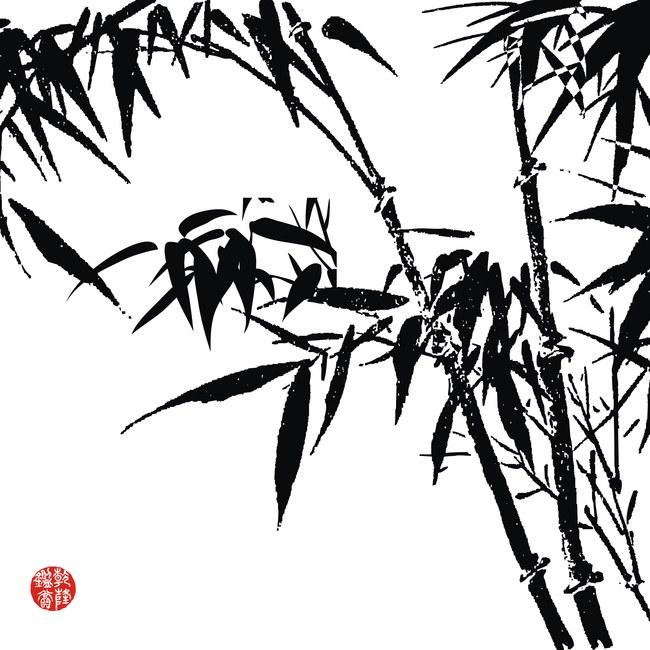 黑白竹子创意无框画模板素材