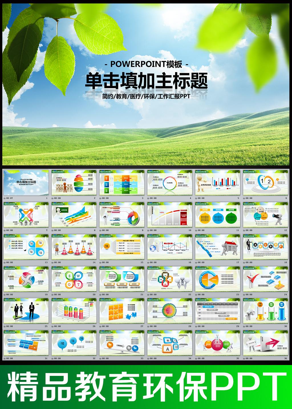 环保教育培训教学课件动态ppt模板