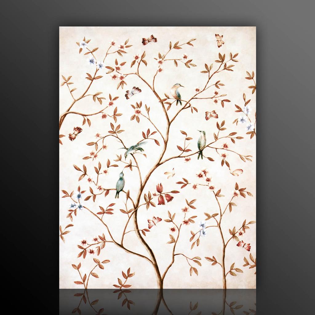 欧式花鸟壁纸贴图