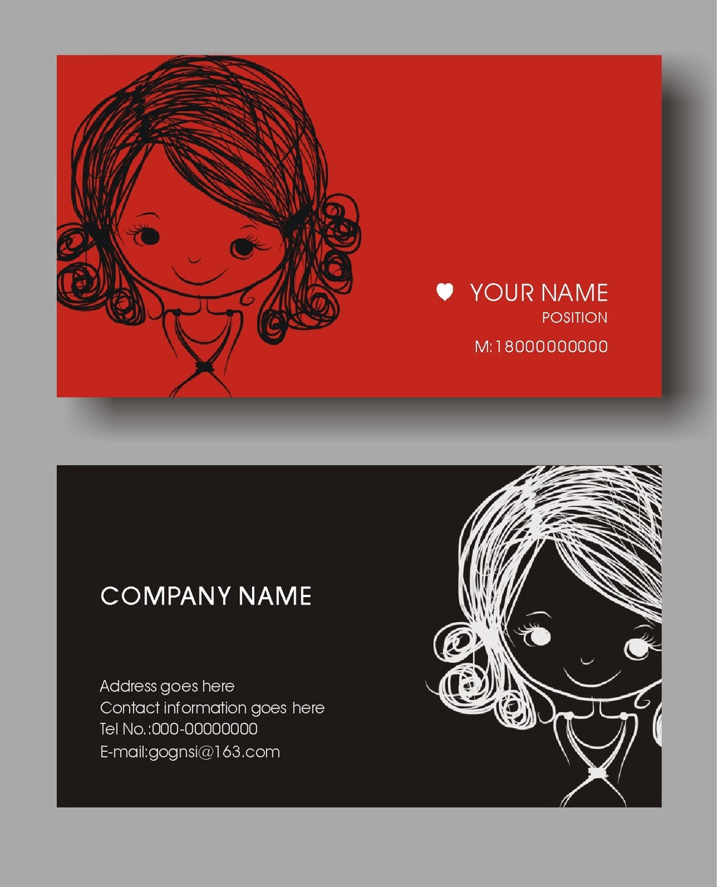 可爱手绘女孩名片设计模板下载图片下载 黑白配手绘女孩名片卡片设计