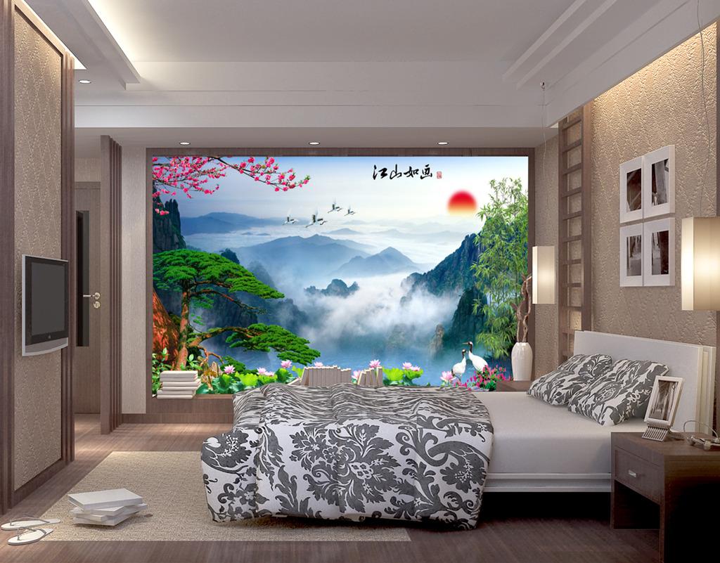 现代山水风景电视背景墙