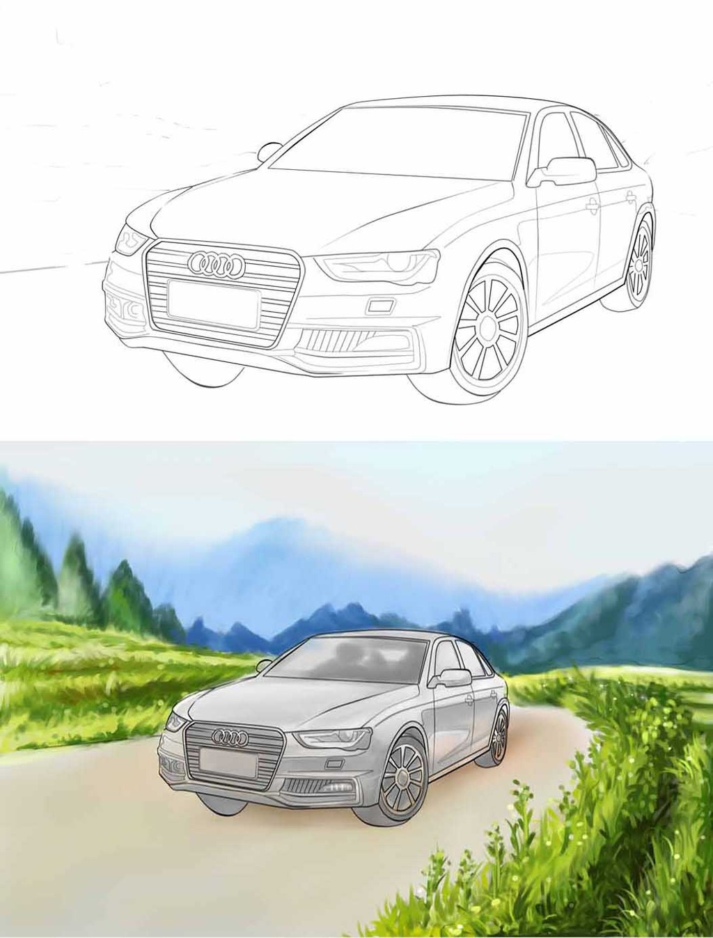 奥迪q5车线稿手绘插画分层psd