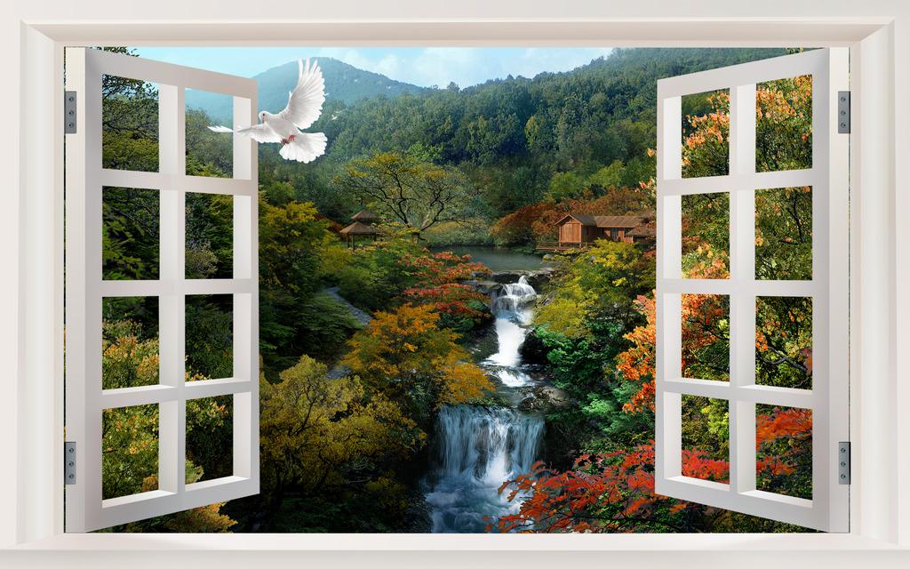3d窗外风景山水瀑布壁画图片