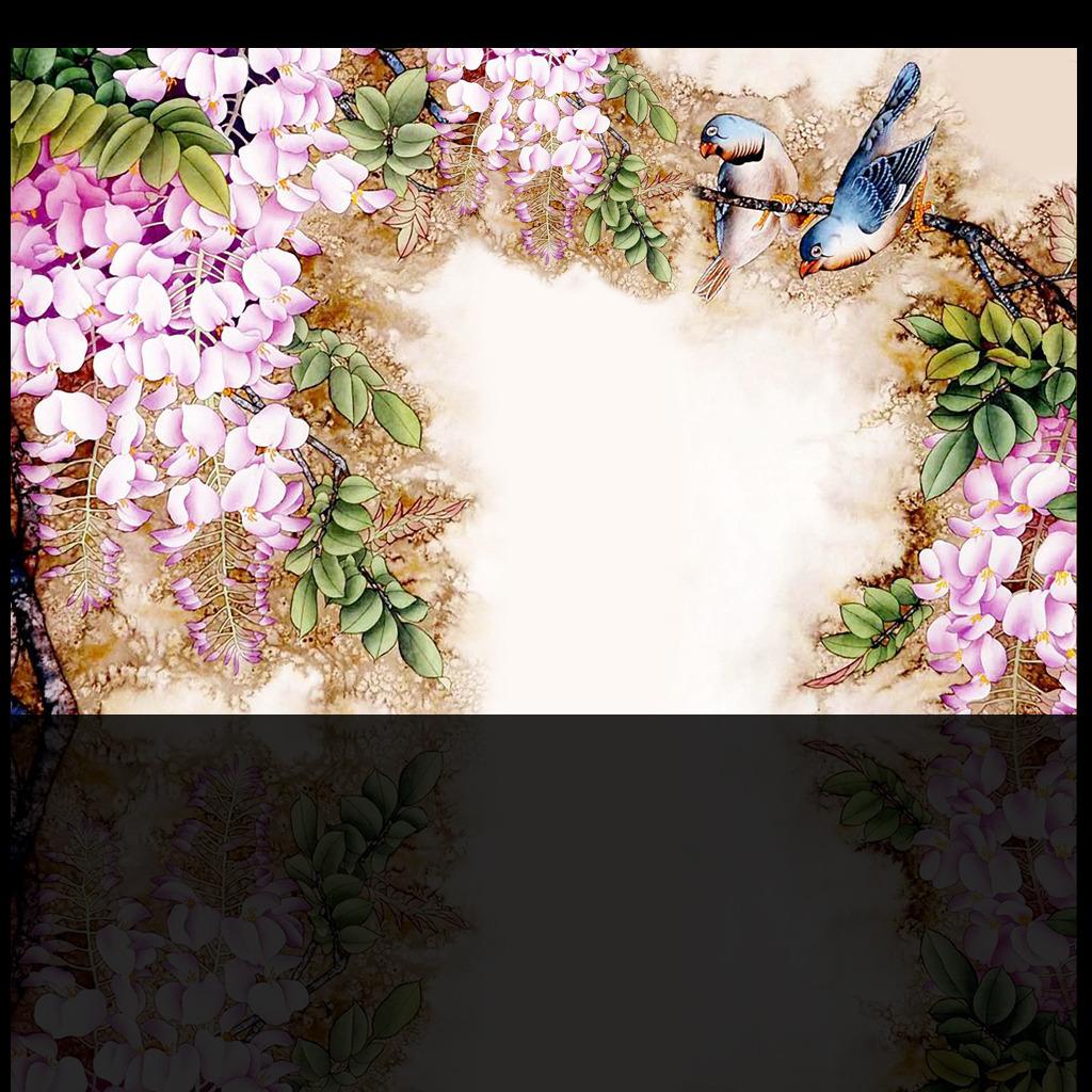 背景墙 装饰画 电视背景墙 中式电视背景墙 > 中国风紫藤花背景墙  下