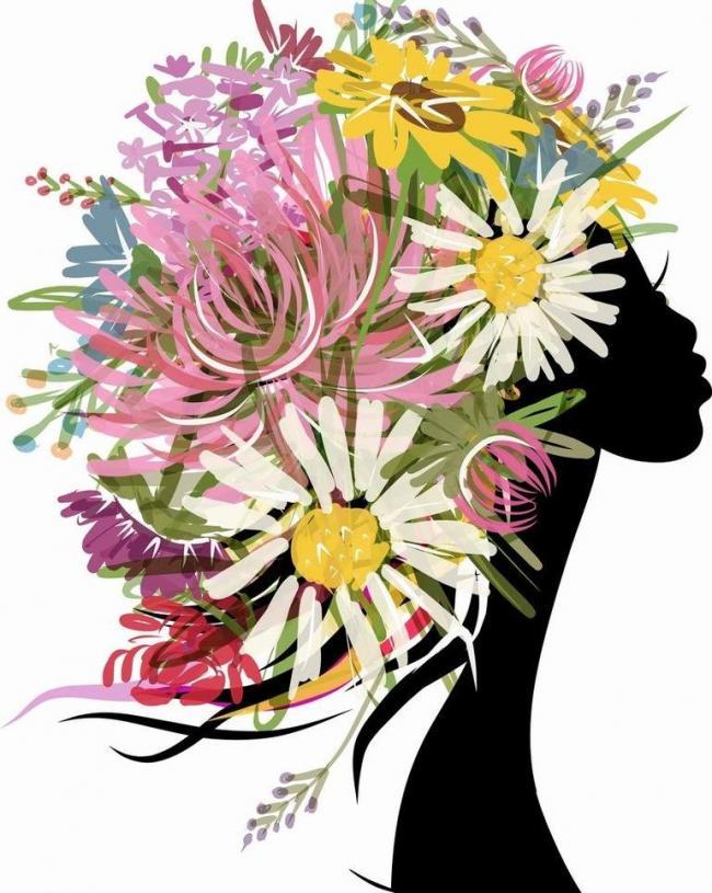 鲜花美女头像矢量素材 鲜花美女头像模板下载 鲜花美女头像 浪漫 手绘