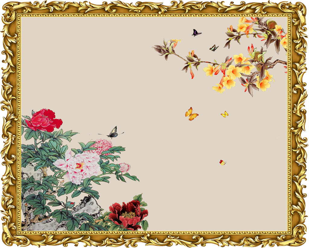 手绘装饰画壁画花儿美如骄图