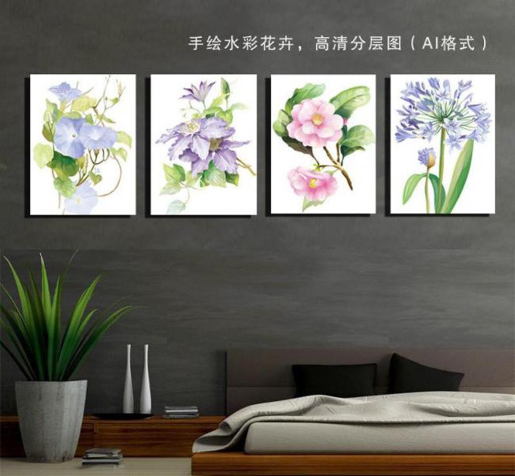 手绘水彩花卉无框画