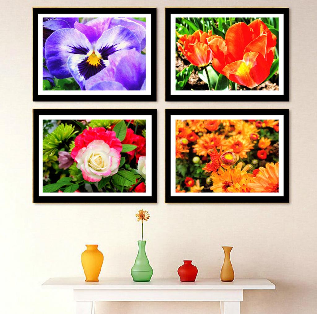 高清手绘油画花朵植物装饰画