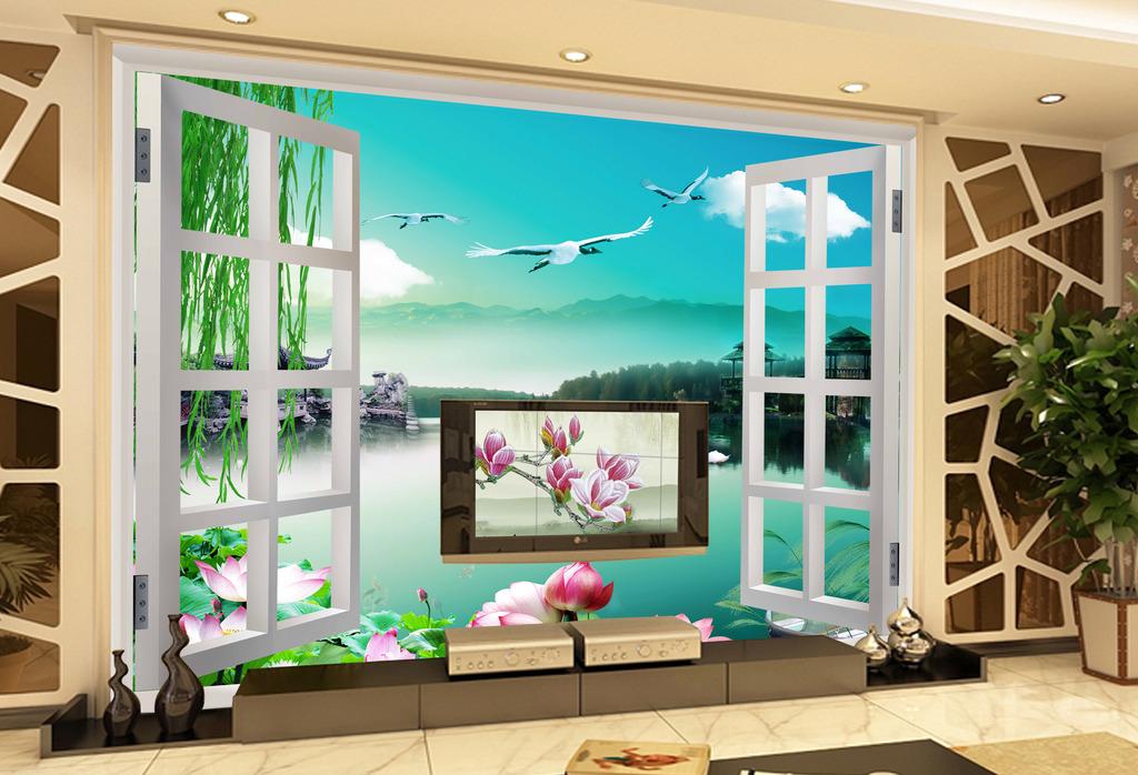 客厅3d窗外风景壁画墙纸背景墙