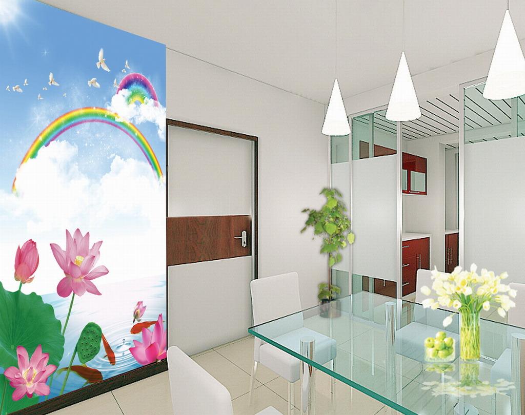 鲤鱼 蜻蜓 手绘荷花 绿色 粉色 诗 瓷砖背景墙 沙发背景墙 电视墙