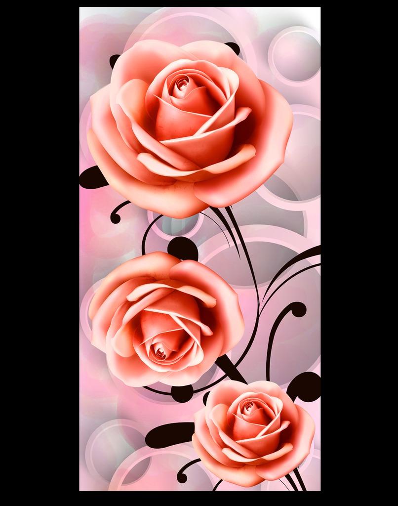 3d立体玫瑰花玄关过道背景墙装饰画