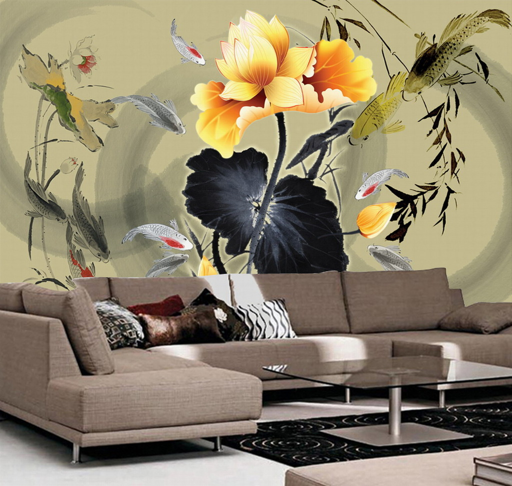 映日荷花 莲花 荷叶 鲤鱼 蜻蜓 手绘荷花 绿色 粉色 诗 瓷砖背景墙